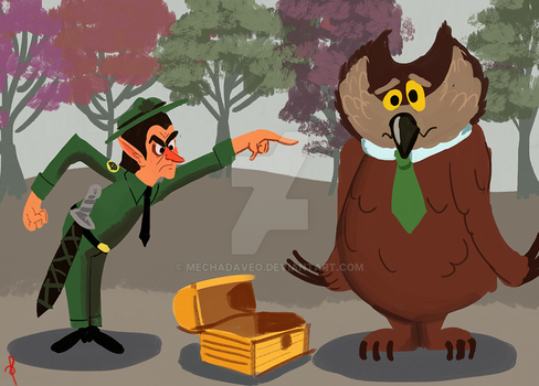 Elf Ranger and Yogi the Owlbear by MechaDaveO