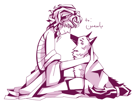 a nonbinary and their dog by nooroodle