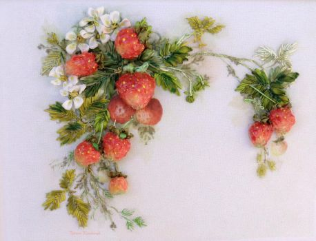 Strawberries, 3D picture, silk ribbon embroidery by TetianaKorobeinyk