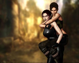 Lara and Doppelganger Croft 05 by Halli-well