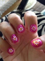 White Daisies with pink nails  by Prince5s