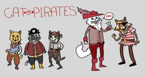 cat pirates in glorious color by dawgmastas