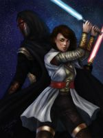 Meetra and Revan by DancinFox