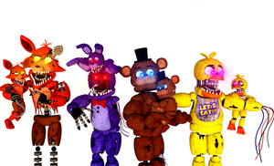 Lill' Gang meeting the Withered Animatronics by GobbySmop