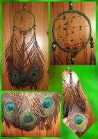 Dreamcatcher Green Peacockfeat by LadyPapillon85