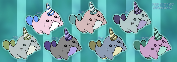 10pt Narwhal Adoptables by SmoochumAdopts