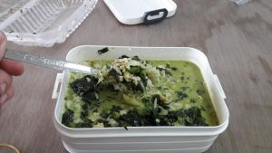 green herbal soup with many vegetable and rice! XD by Deviljackies