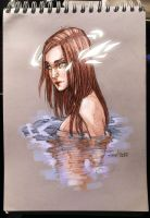 Sketch. Girl in the water by sashajoe