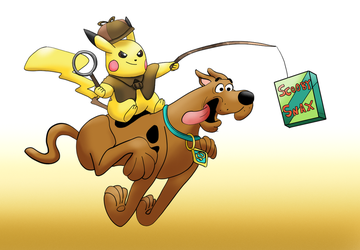 ScoobyDoo and Detective Pikachu crossover by BoredBrian