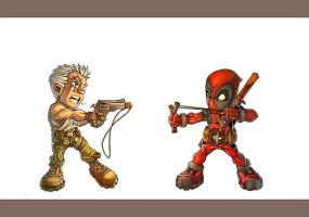 Cable vs Deadpool by -seed-