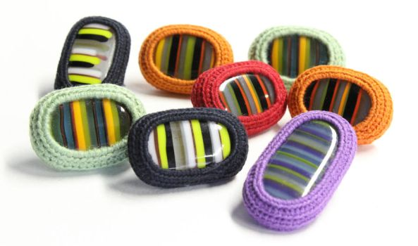 Crocheted Cotton and Fused Glass Pins by KatieSchutte
