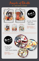 [Pre-order]  Angels of Death : Arcylic Charm / Pin by Kur0-sakura