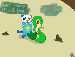Oshawott and Snivy by Ludichat