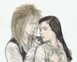 Jareth putting the amulet on Sarah by gagambo