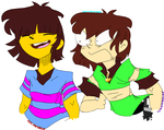 Frisk and Chara Stickers-Undertale/MidTale by KatyScene
