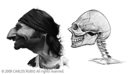 Caricature with skull 3 by CarlosRubio
