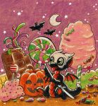 Halloween chibi dragon in candy land by Wollfisch