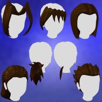 Anime Hair Set 1 for Animedoll by nekketsukyoujin