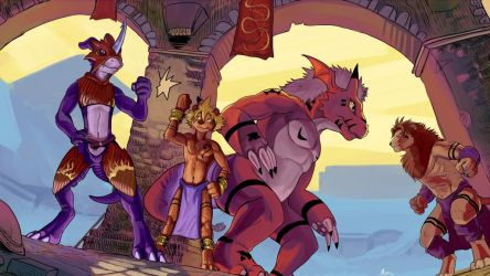 Flamedramon and Franko teaming up by Crisjofreart