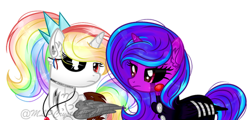 [REQUEST] White Rainbow and Clora FNAF by MLPCrystalHarmony