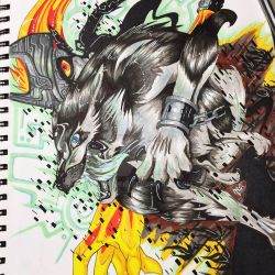 Wolf Link and Midna by silvergeki