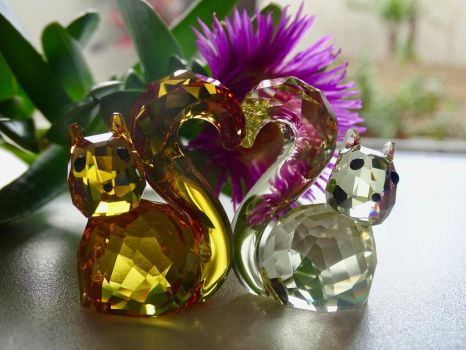 Bert and Berta Swarovski Squirrel Couple by Squirrels2poet2queen