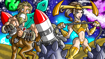 Rocket Centaur and Space Valkyrie- April by Jagarnot
