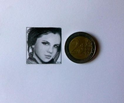 Selena Gomez miniature drawing by Q-Le
