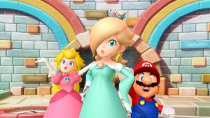 Rosalina Peach and Mario by PeachyEstela