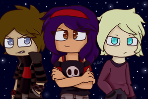 Upside Down! Aphmau, Laurance and Garroth by LavenderSapphirexX