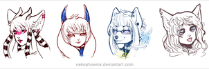 Lovely Lady Heads - Sketch Trades by nekophoenix
