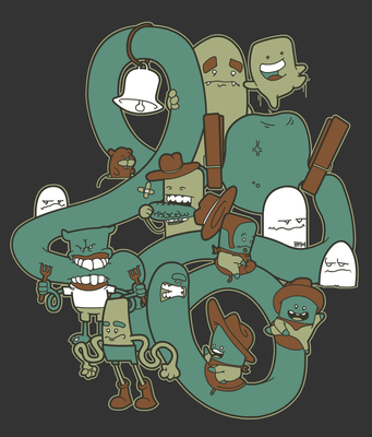 Worm Rodeo T-Shirt Colors-1 by yellowbouncyball