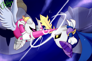 Meta Knight vs Galacta Knight by Ele-nya
