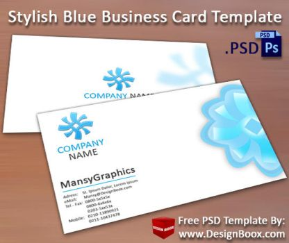 Stylish Blue Business Card Template PSD by MansyDesignTools