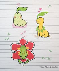 Chikorita/Bayleef/Meganium Stickers and Magnets by pixelboundstudios