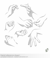 Hand Reference Sheet 1 - tutorial by RinFaye