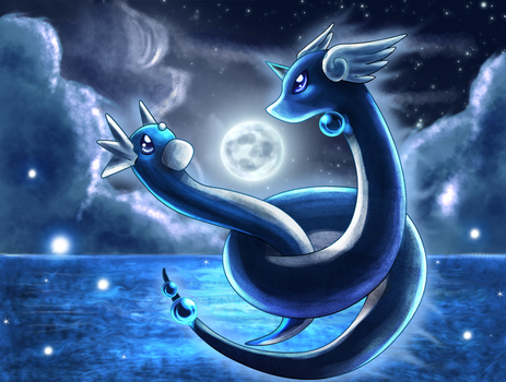 Dratini and Dragonair by Deruuyo