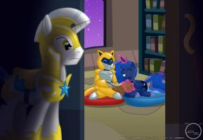 Grant and Luna in the Library by Arbok-X