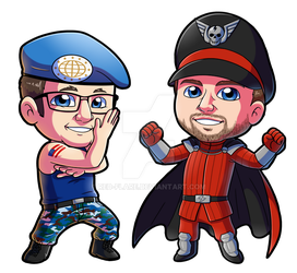 Commission: Chibi Guile and M Bison by Red-Flare