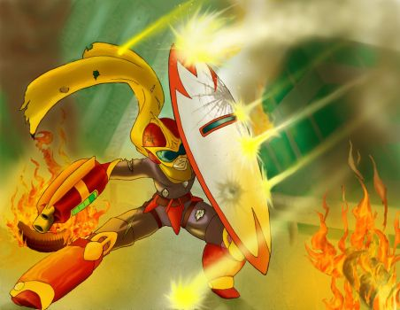 Protoman Fighting by poly-m