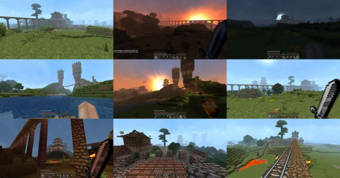 my Minecraft fortress and town by aquaTICKworld