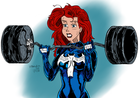 Symbiote Ariel: BARBELL CURLS by DeathStrokeAC