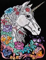 Floral Unicorn by Star-Chaster