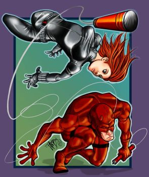 Daredevil and Black Widow by Romax25