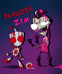 blood GIR, blood Zim by Lunatic-Mo-on
