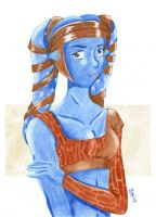 Aayla in colour pencil by Mirax-chan