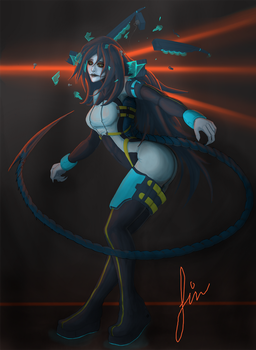 Space alien girl (commission) by Megell