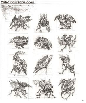 Insectoid Bird Thumbnails by MIKECORRIERO