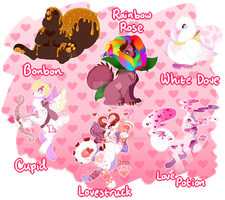 [CLOSED] Chimereons - Valentine's Day Adopts by CandyChameleon