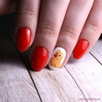 The Peach Cat NAilart by ladymarengo